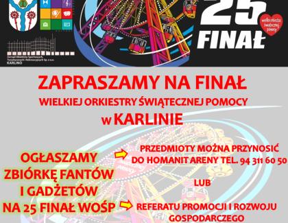 Ogłaszamy zbiórkę fantów i gadżetów na 25 Finał WOŚP w Karlinie